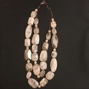 Blush and Gold Layered Long Large Beaded Necklace